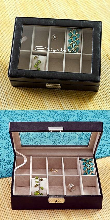 Beautful Personalized Leather & Glass, Hinged-Lid Jewelry Box