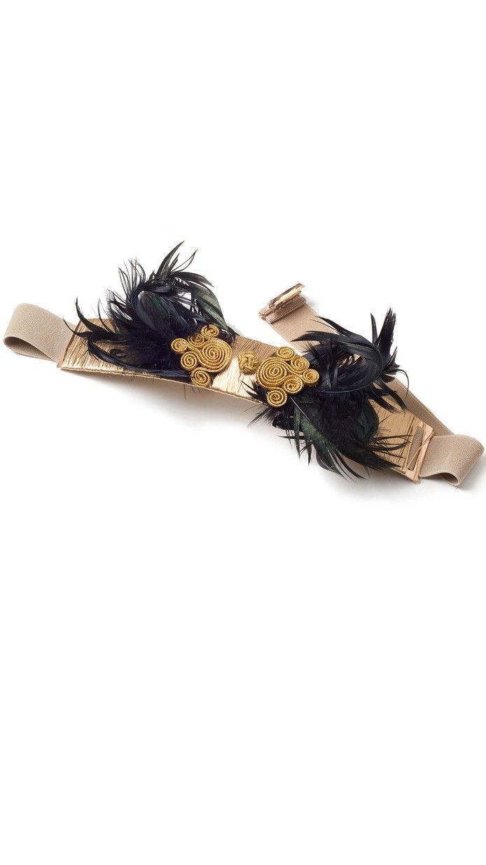 cinturón joya ajustable con plumas negras