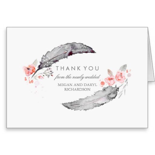 Bohemian Feathers Pink and Gray Wedding Thank You