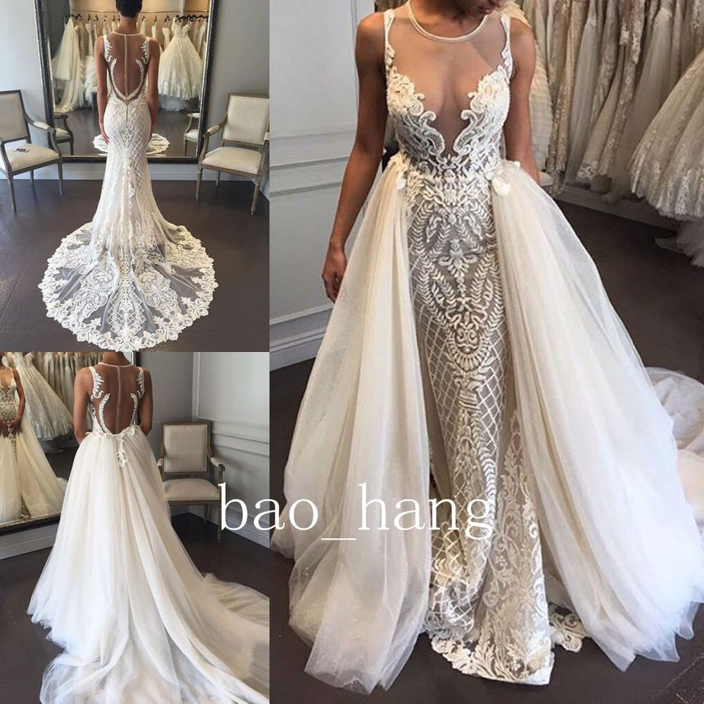 Detachable skirt wedding dress  Sexy Ivory Wedding Dress Detachable Skirt Sleeveless Lace Bridal