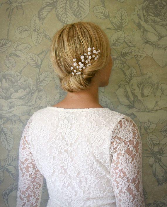 Baby S Breath In Hair: Set Of 3 Baby's Breath Botanical Hair Pins. Bridal Hair