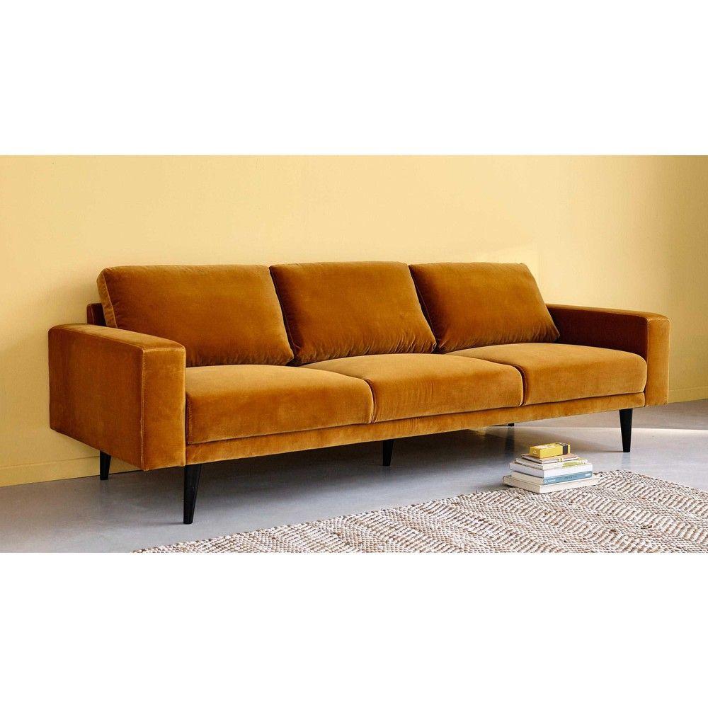 Sofa 4 Sitzig Aus Velours Senfgelb Maisons Du Monde Wohnung Einrichten Sofa Design Wohnen