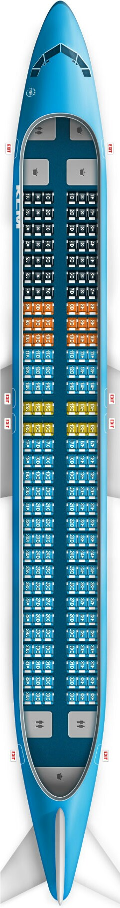 KLM 737-900 Seat Map (With images) | Klm airlines, Airline ...