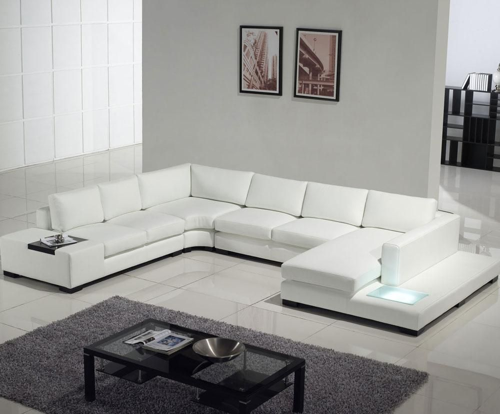 Modern White Leather Sectional Sofa With Built In Light