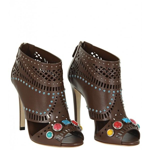Gucci Brown Leather Laser-Cut Ankle Boot