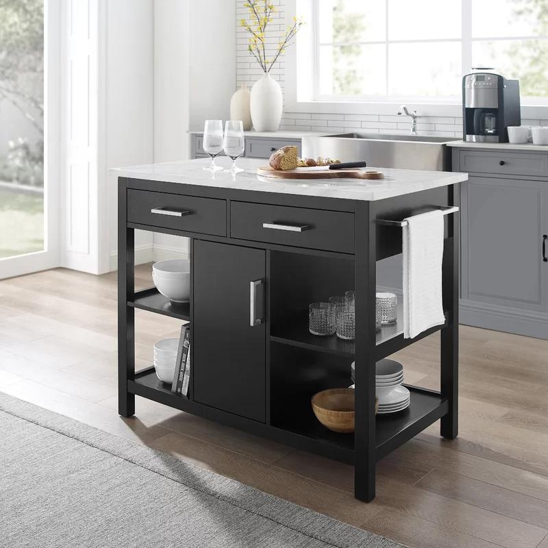 Ebern Designs Kutztown Kitchen Island With Manufactured Wood Top Marble Top Kitchen Island Kitchen Tops Ikea Kitchen Island