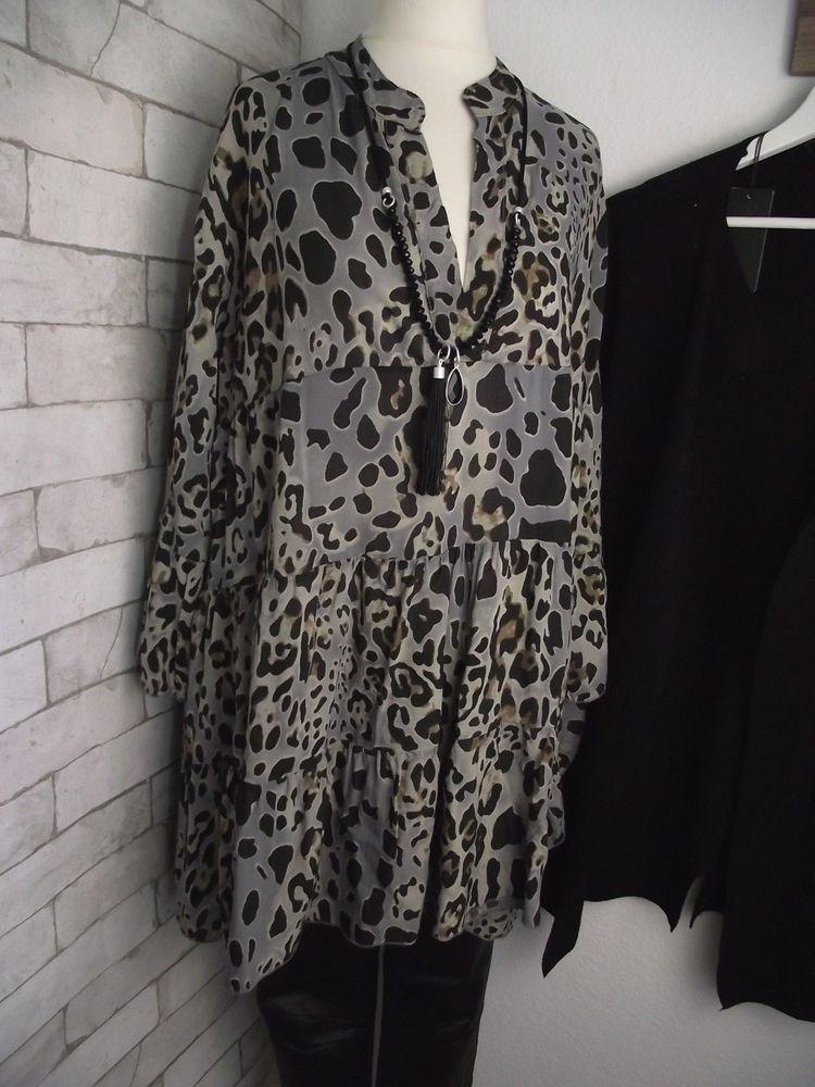 NEU Kleid Bluse Tunika ITALY duftig LEO PRINT grau bunt