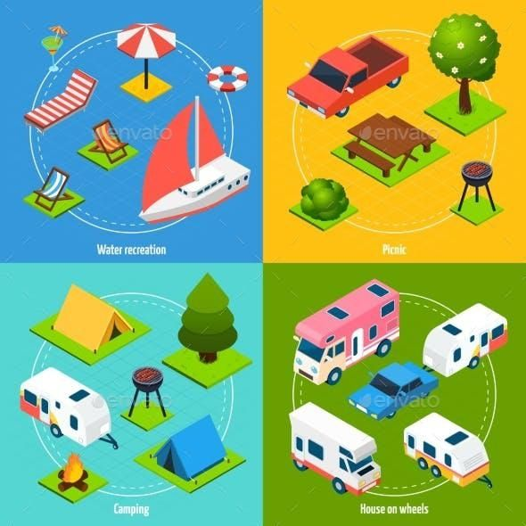Camping And Travel Isometric 2X2 Icons Set for 8