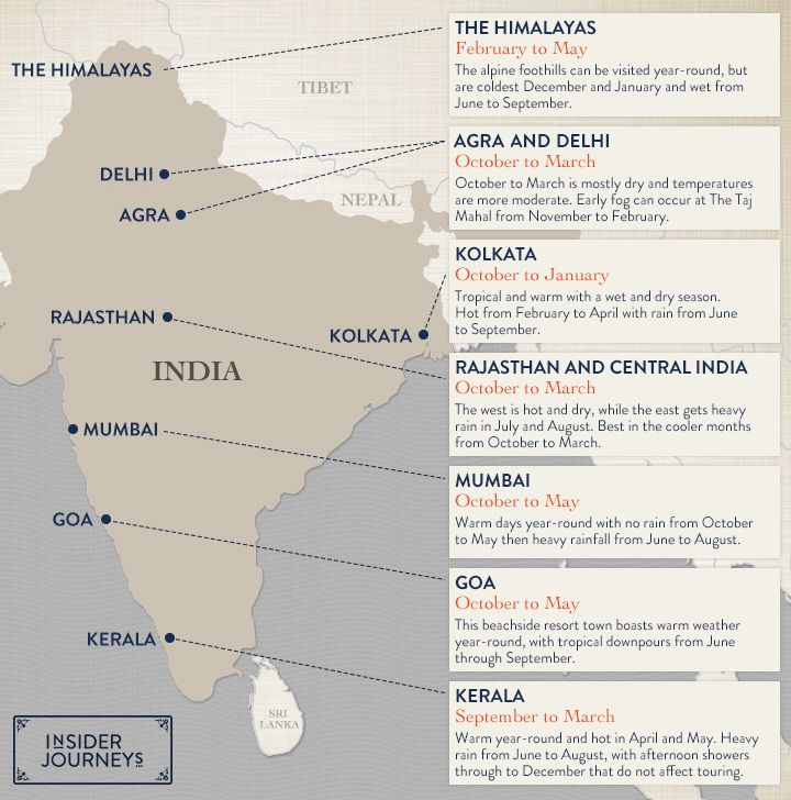 Map When Is The Best Time To Visit India Visit India India Travel Inspiration Destinations