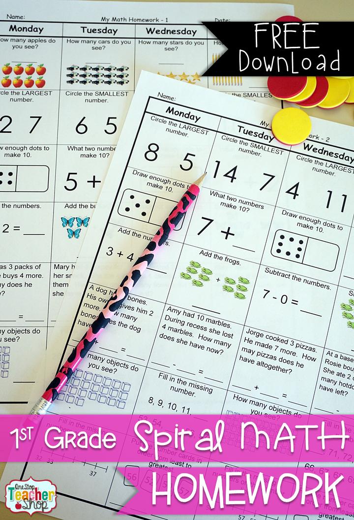 FREE! First Grade Spiral Math Homework. 1st Grade Math {Common ...