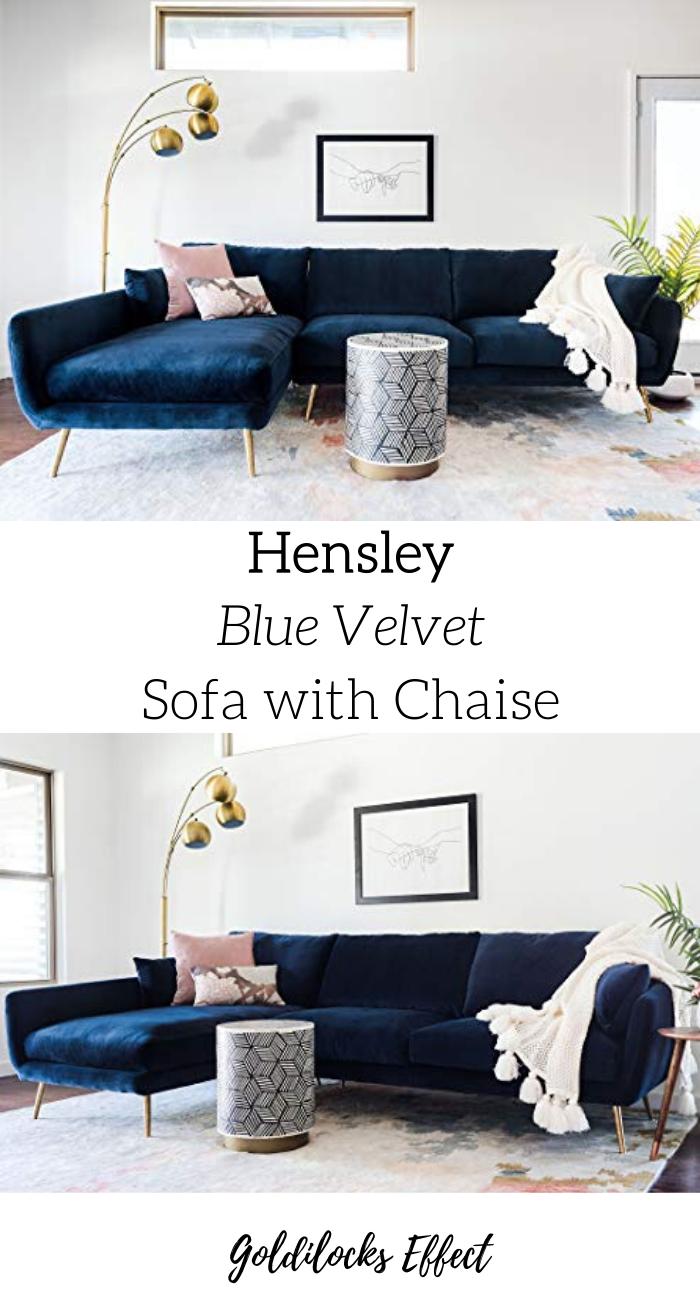 Hensley Modern Velvet Sectional Sofa In 2020 Deep Sectional Sofa Velvet Sectional Modern Sofa Sectional