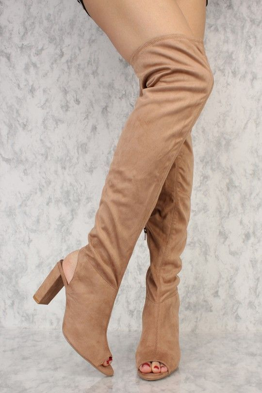 b0b0a44acc4a Taupe Slim Peep Toe Heel Cut Out Thigh High Chunky Heel Boots Faux Suede