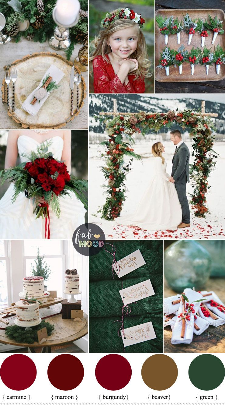a christmas themed wedding with the lush colours of deep green pine and pops of cranberry red fab mood wedding winterwedding