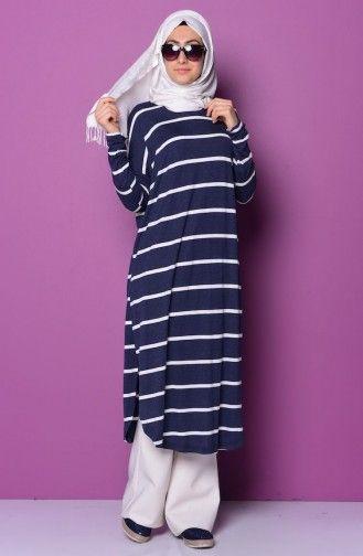 Cizgili Penye Tunik 2014 02 Lacivert Beyaz Tunik Moda Stilleri Elbise