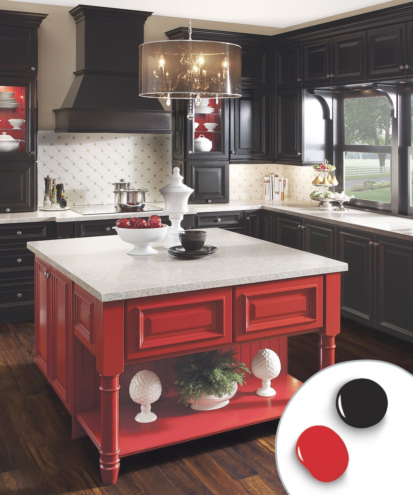 Black Cabinets Effectively Fade Into The Background To Show Off The Red Island At Center While Kitchen Cabinet Colors Painting Kitchen Cabinets Home Kitchens