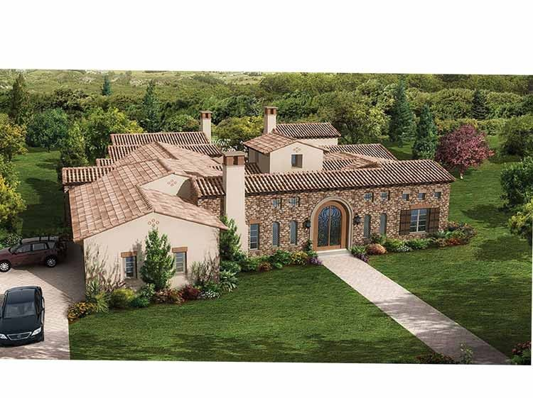 Eplans Italianate House Plan Old World Romanticism Meets Form And Function 5308 Square Feet And 4 Bed Courtyard House Plans House Plans Spanish Style Homes