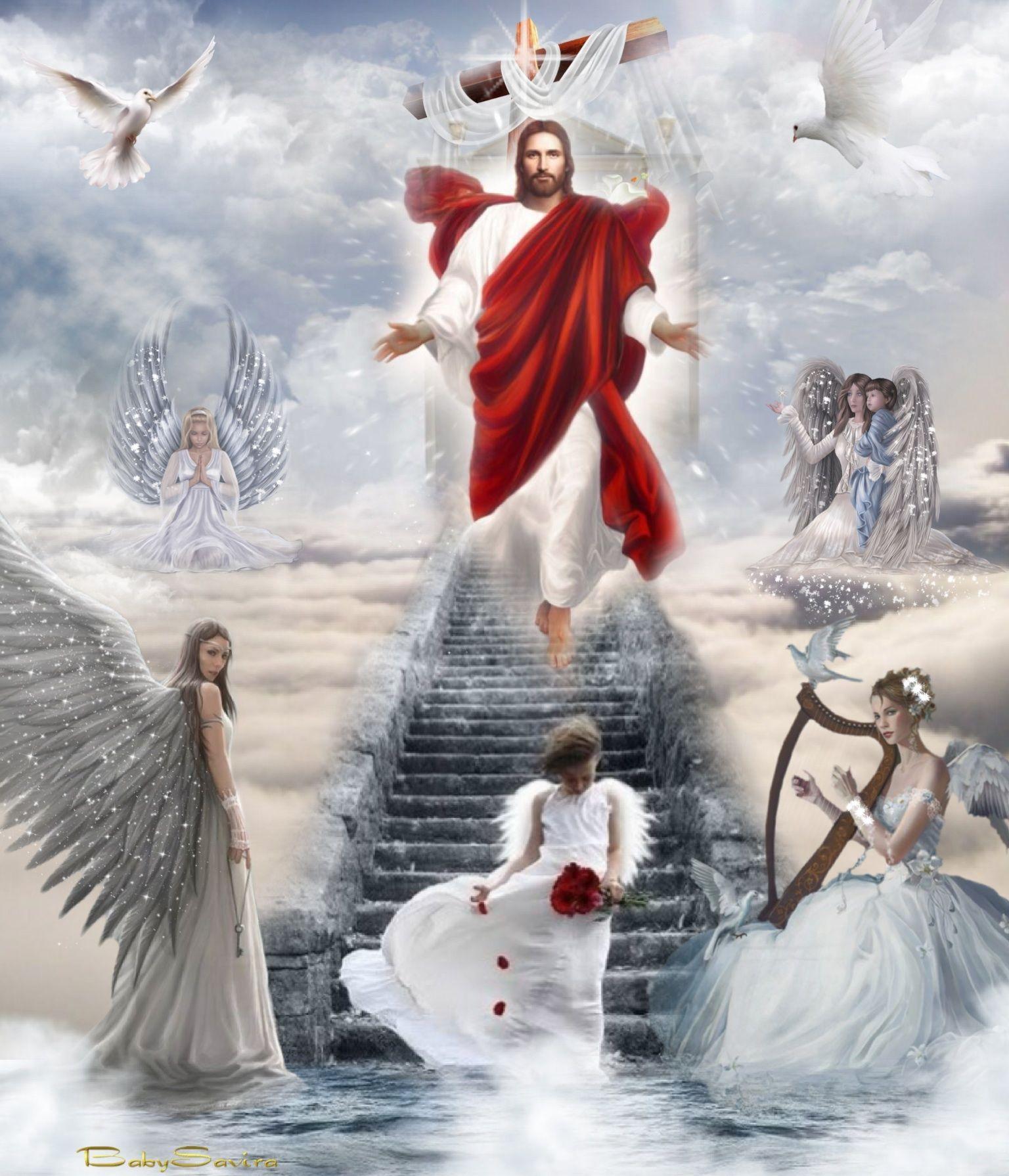 Jesus Christ Holy Spirit Angels Heaven Cross