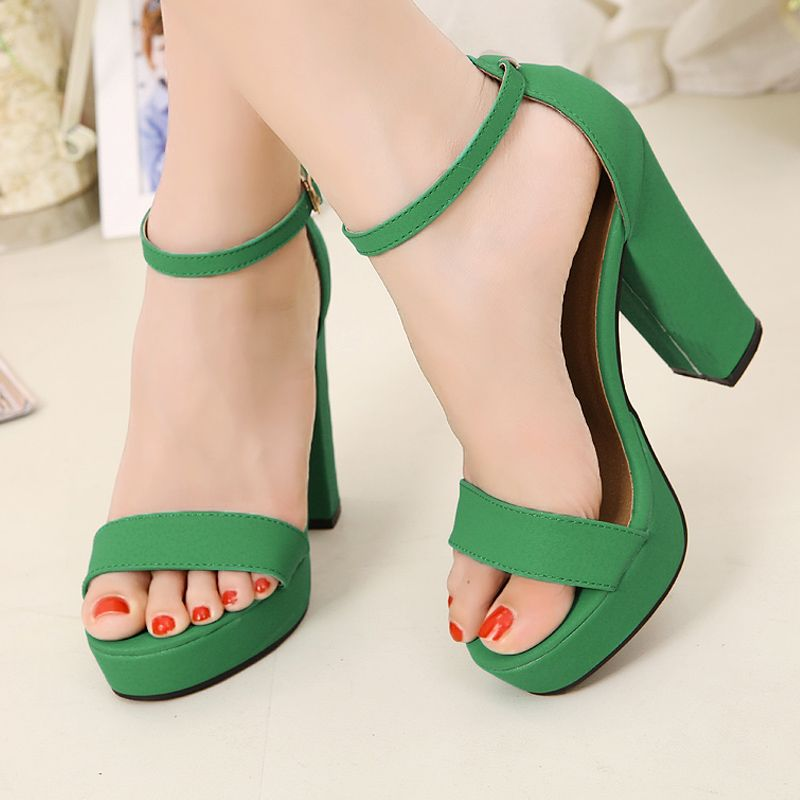 Sweet comfortable open toe high heel platform thick | The Art of ...