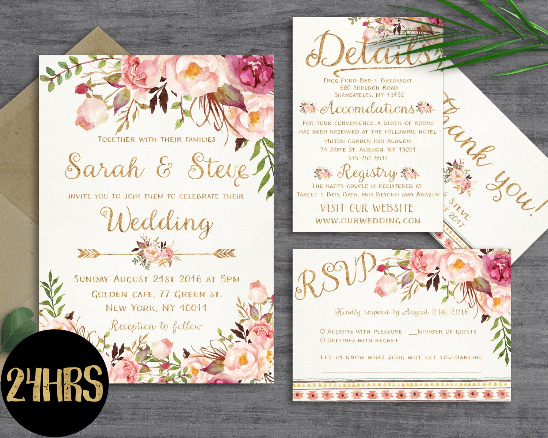Greenery wedding invitation template Bohemian Wedding