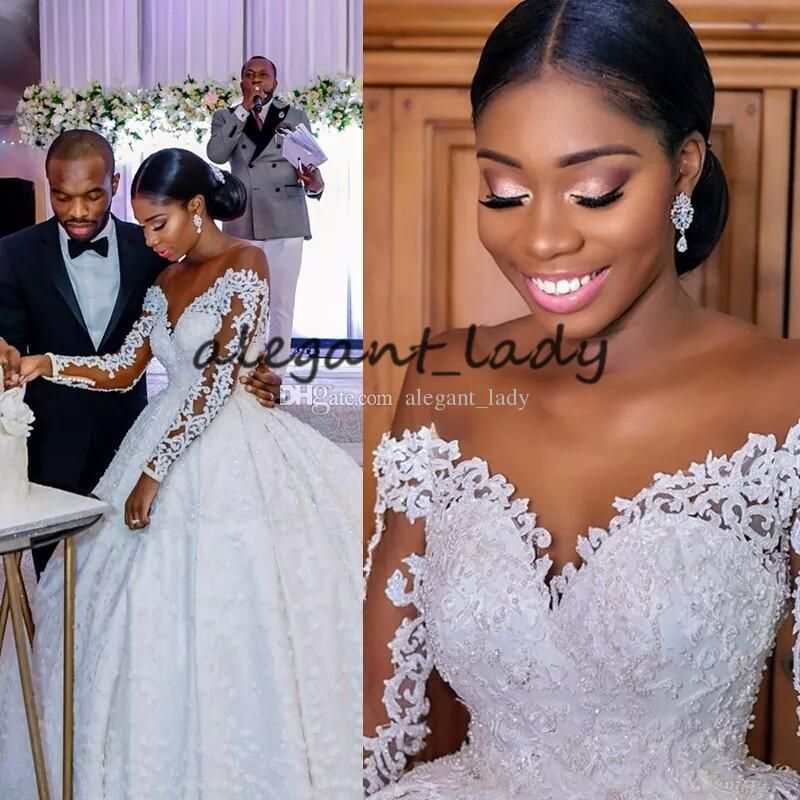 Discount Plus Size Long Sleeve Wedding Dresses With Illusion Jewel Neck 2019 Luxury Lace Embroidery Butterfly African Nigerian Princess Wedding Gown White Weddi Long Sleeve Ball Gown Wedding Dress Ball Gowns