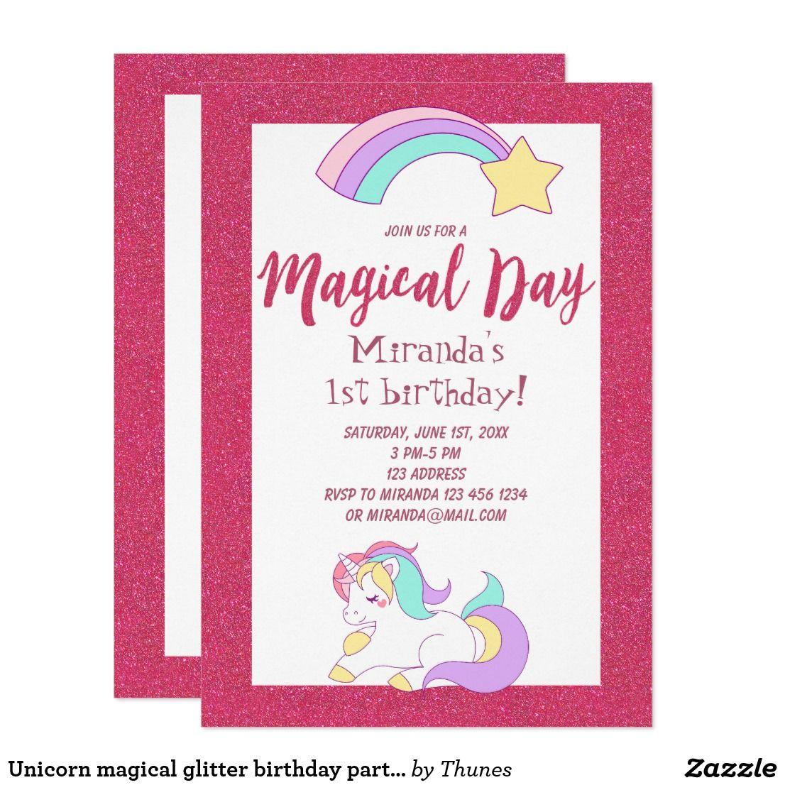 Unicorn magical glitter birthday party invitation glitter birthday unicorn magical glitter birthday party invitation stopboris Choice Image