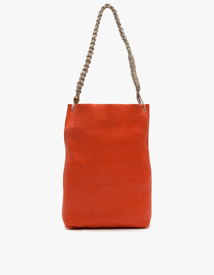 2c9af74a16 Malpais Bag in Red Rock    macrame handle for simple leather bag