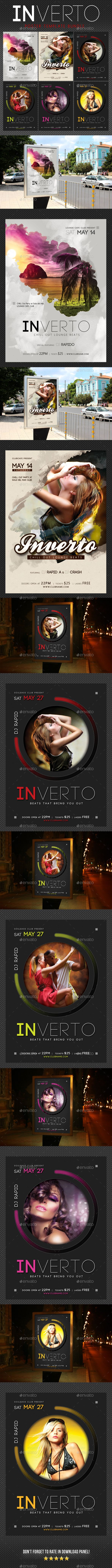 3 Inverto Music Poster Bundle by rapidgraf 3 High impact Poster Template Layouts, perfect for any music event. PSD files, CMYK, 300 dpi and ready for print. Save your time a
