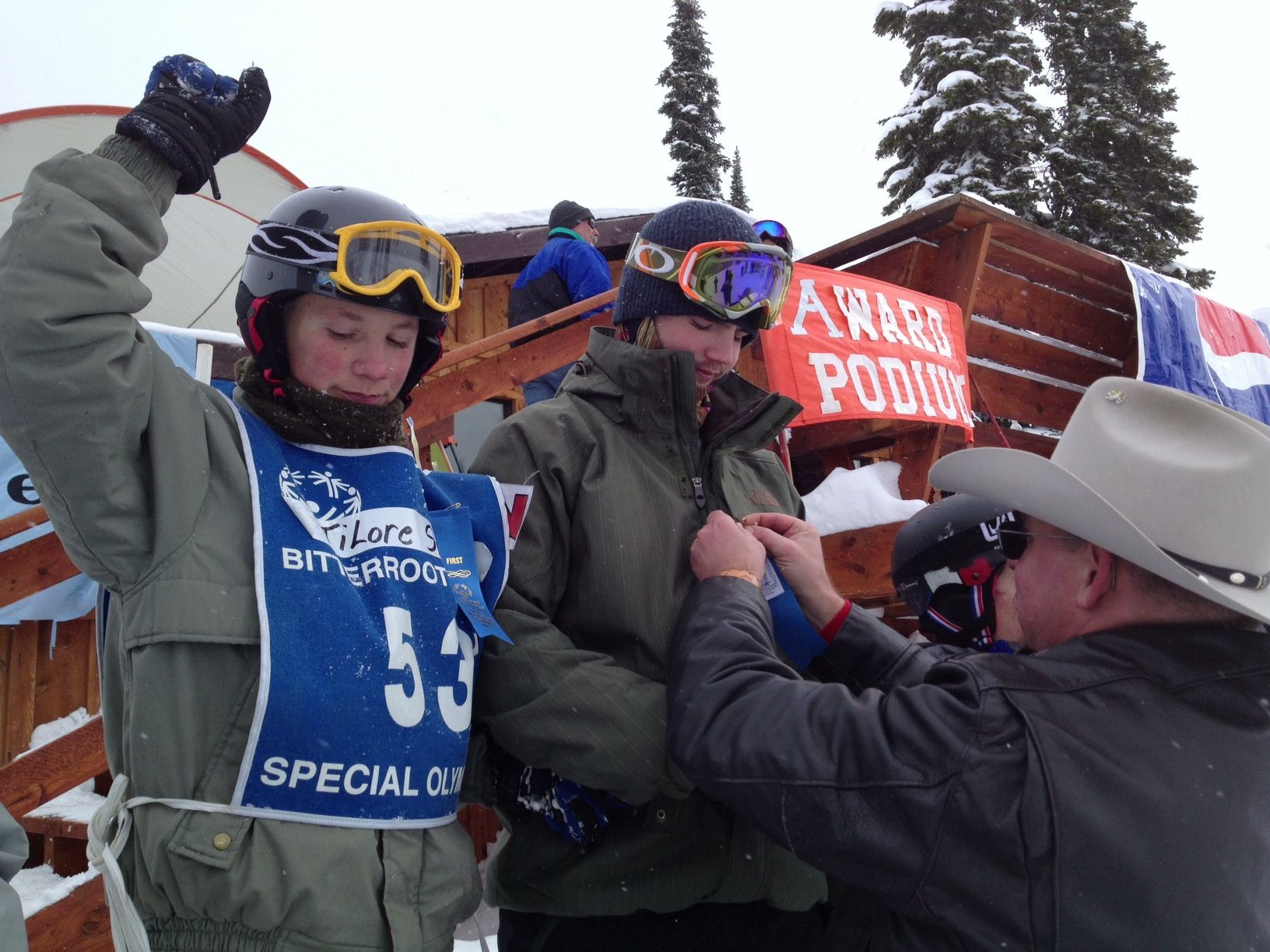 Special Olympians celebrate their wins- Bitterroot Special Olympics, Lost Trail Pass, February 2013