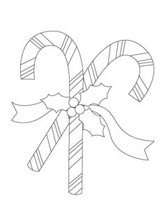 Free Candy Cane Coloring Page for Kids. Pinned by