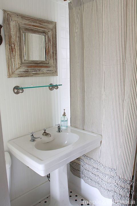 Ticking shower curtain with ruffled detail at the bottom | | SEW ...