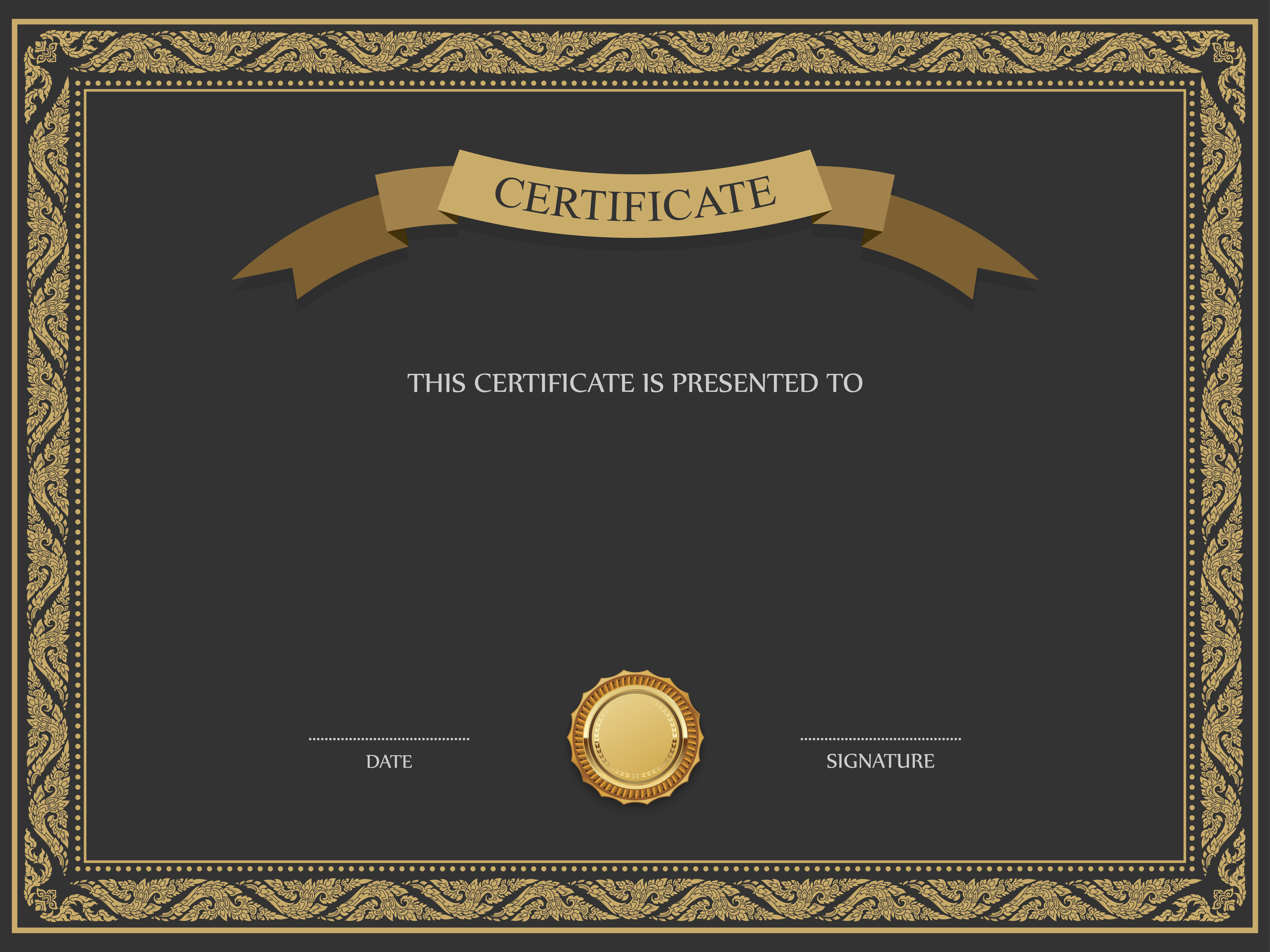 Black and Brown Certificate Template PNG Image | Projects to Try ...