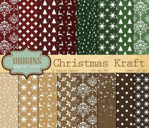 2e4446344bac Christmas Kraft Digital Paper. Christmas Patterns.  2.00