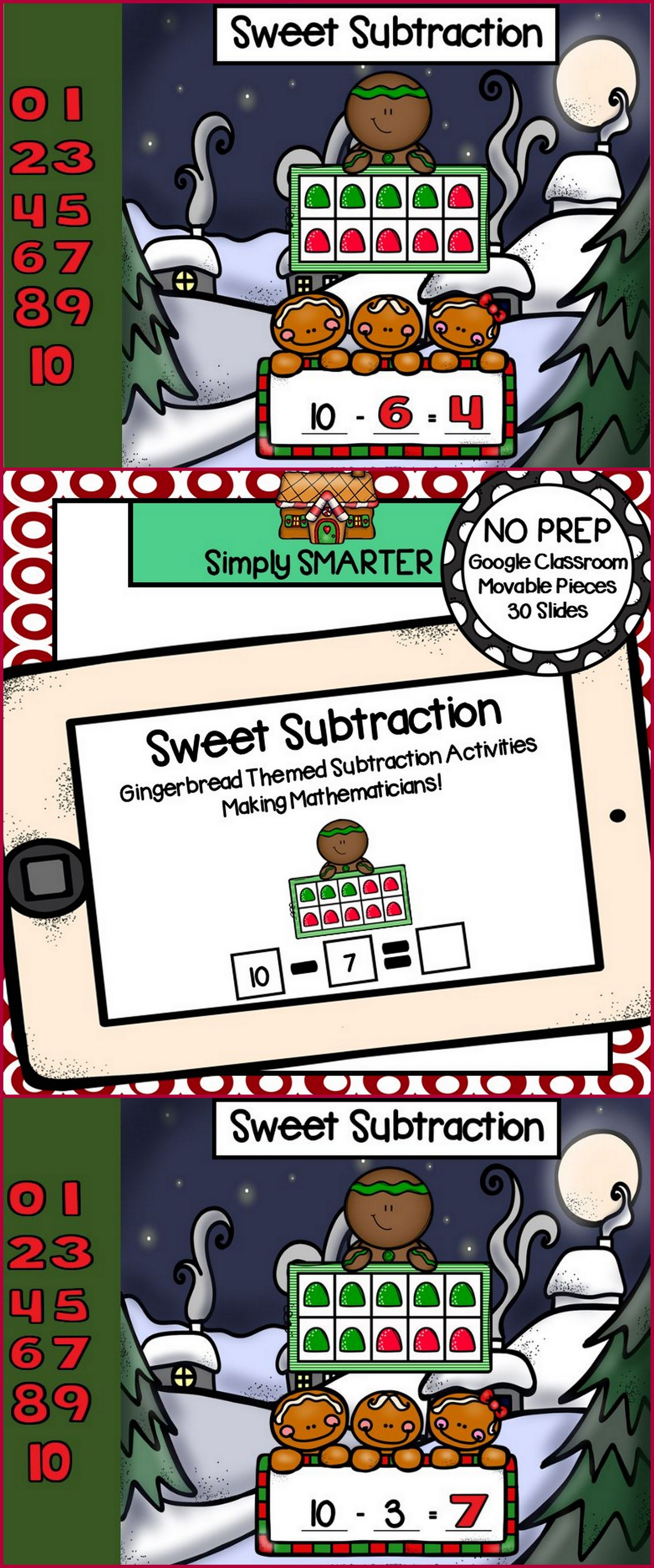 Gingerbread Themed Subtraction Activities For