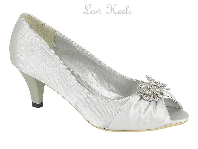 silver low heel wedding shoes details about womens low heel silver satin evening 7440