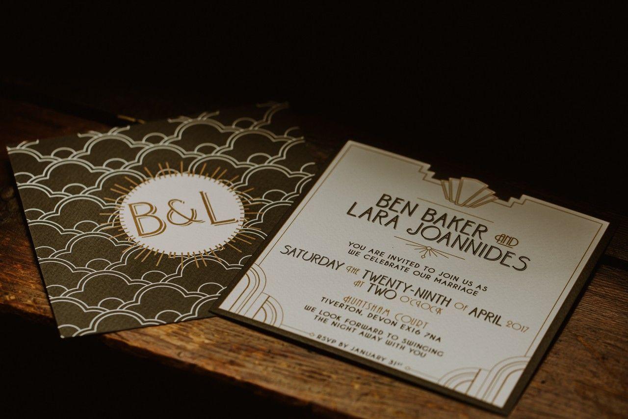 Art Deco Wedding Invitations Lara Ben S Wedding At Huntsham