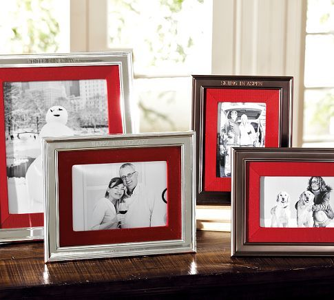 Personalized Silver Plated Red Grosgrain Ribbon Mat Frame Frame Picture Frame Mat Red Frame