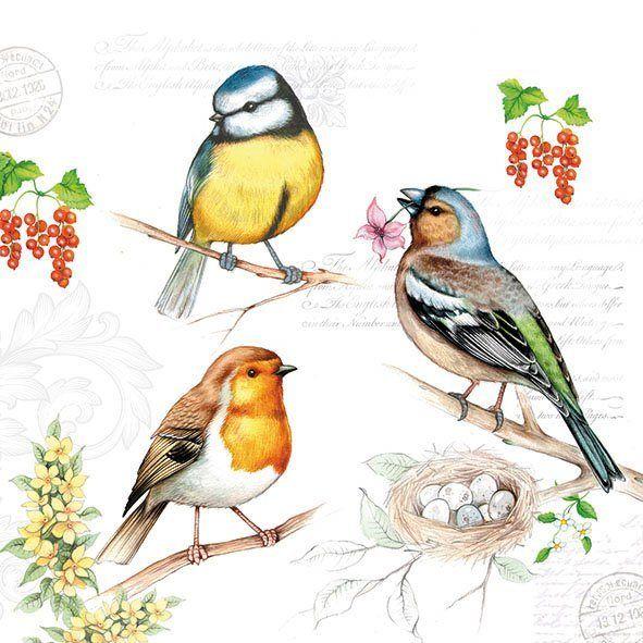 Serviette 'Vögel am Zweig'