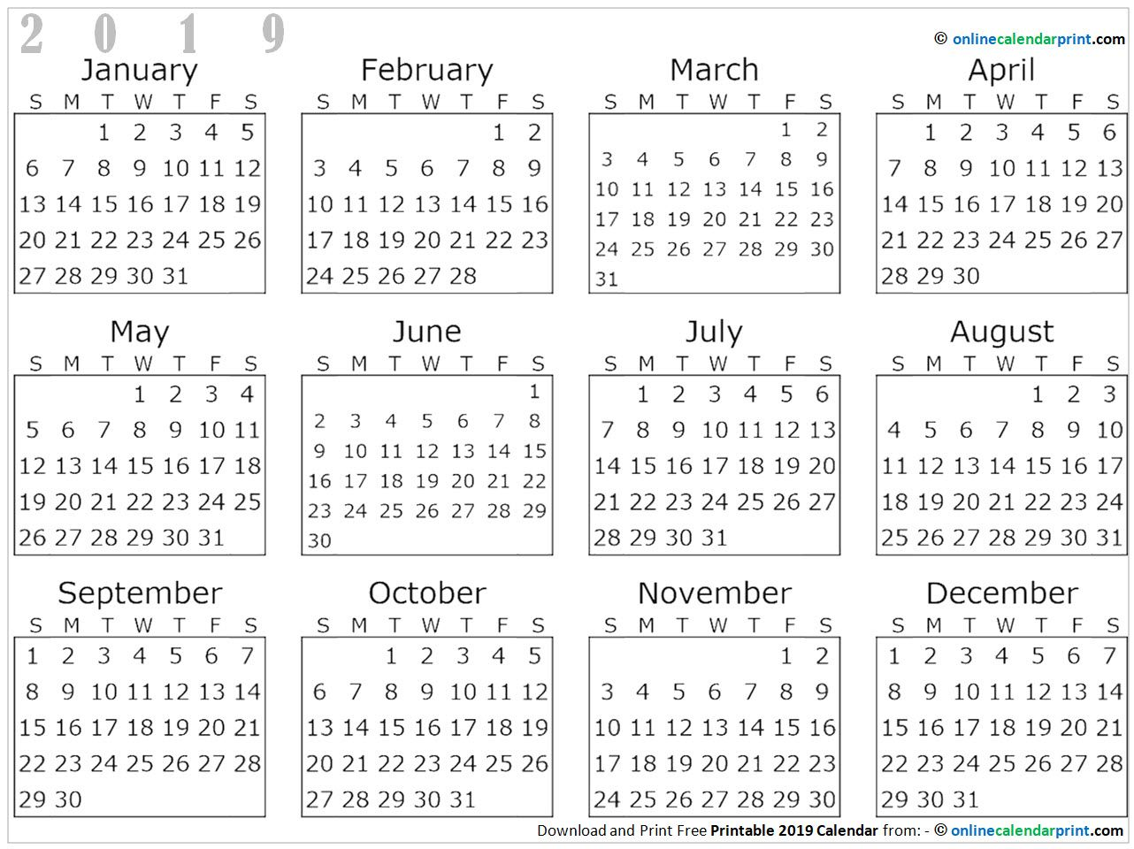 Free Printable Yearly 2019 Calendar With Images 2019 Calendar