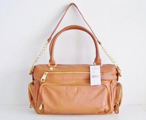 Steve Madden Cognac Tan Brown W/gold Chain Shoulder Tote Satchel Handbag