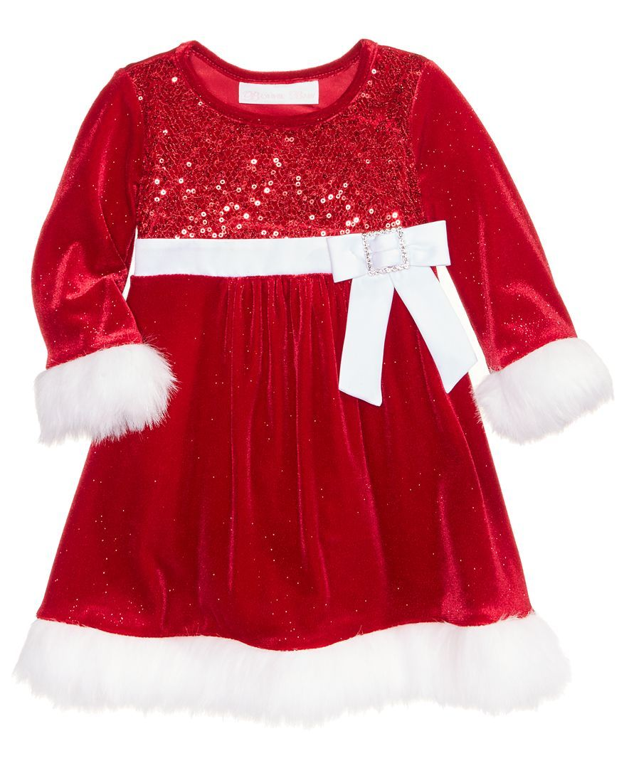 1b29be74445c5 Bonnie Baby Velvet Santa Dress, Baby Girls (0-24 months) | Baby Girl ...
