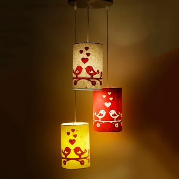 Craftter Love Birds Multicolor Hanging Lamp