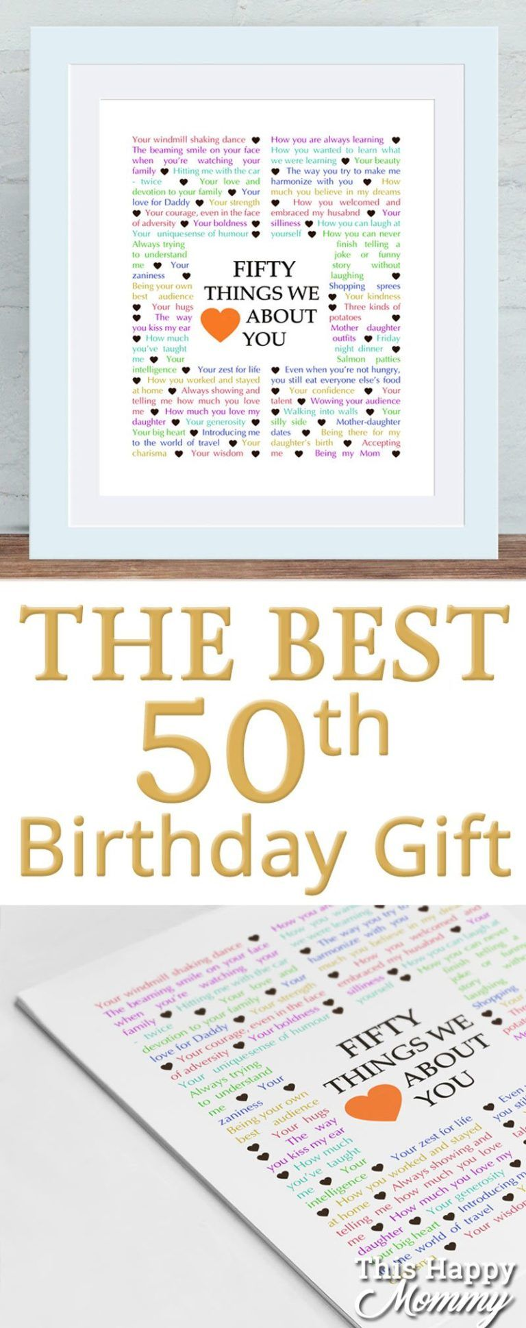 Milestone Birthday Gifts - Things We {Love} About You Gifts - This Happy Mommy