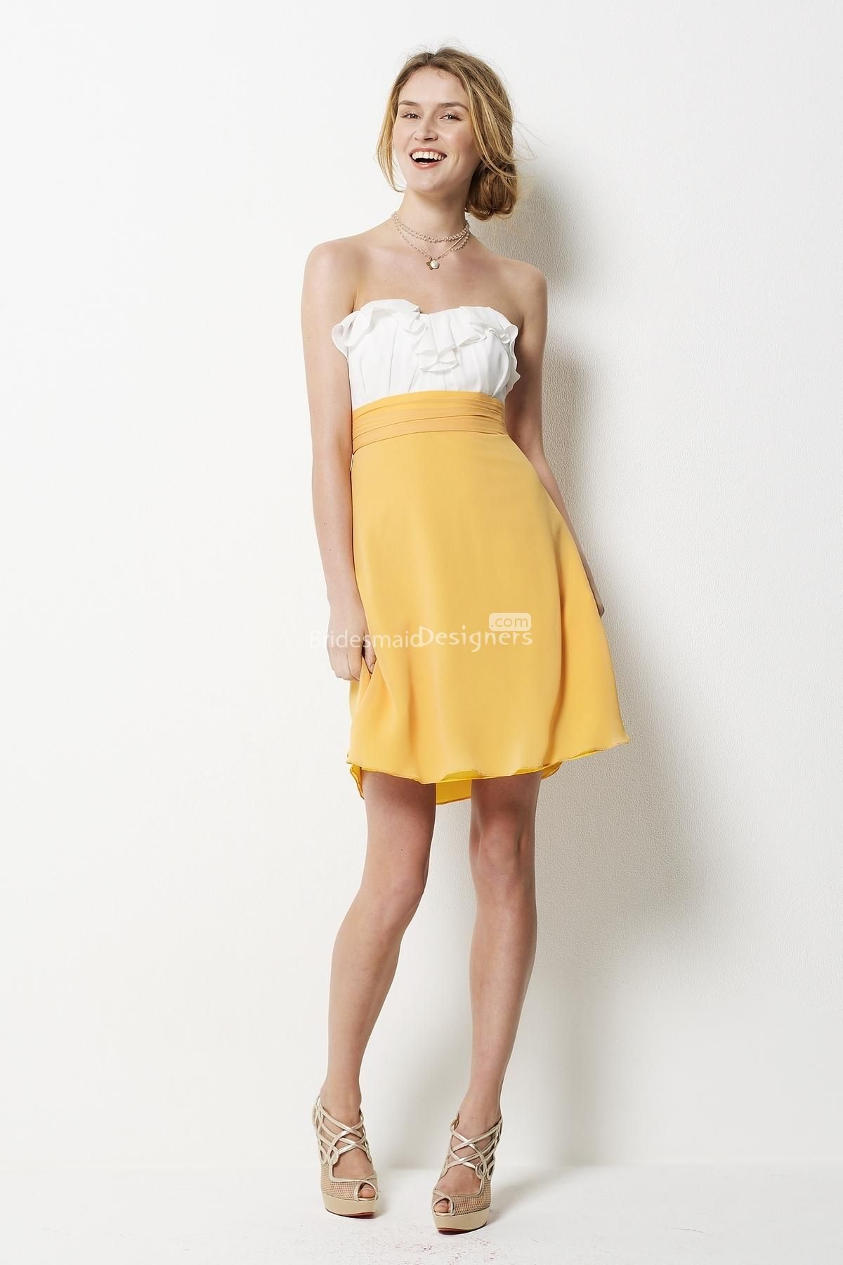 tone yellow white short mini short bridesmaid dress with ruched