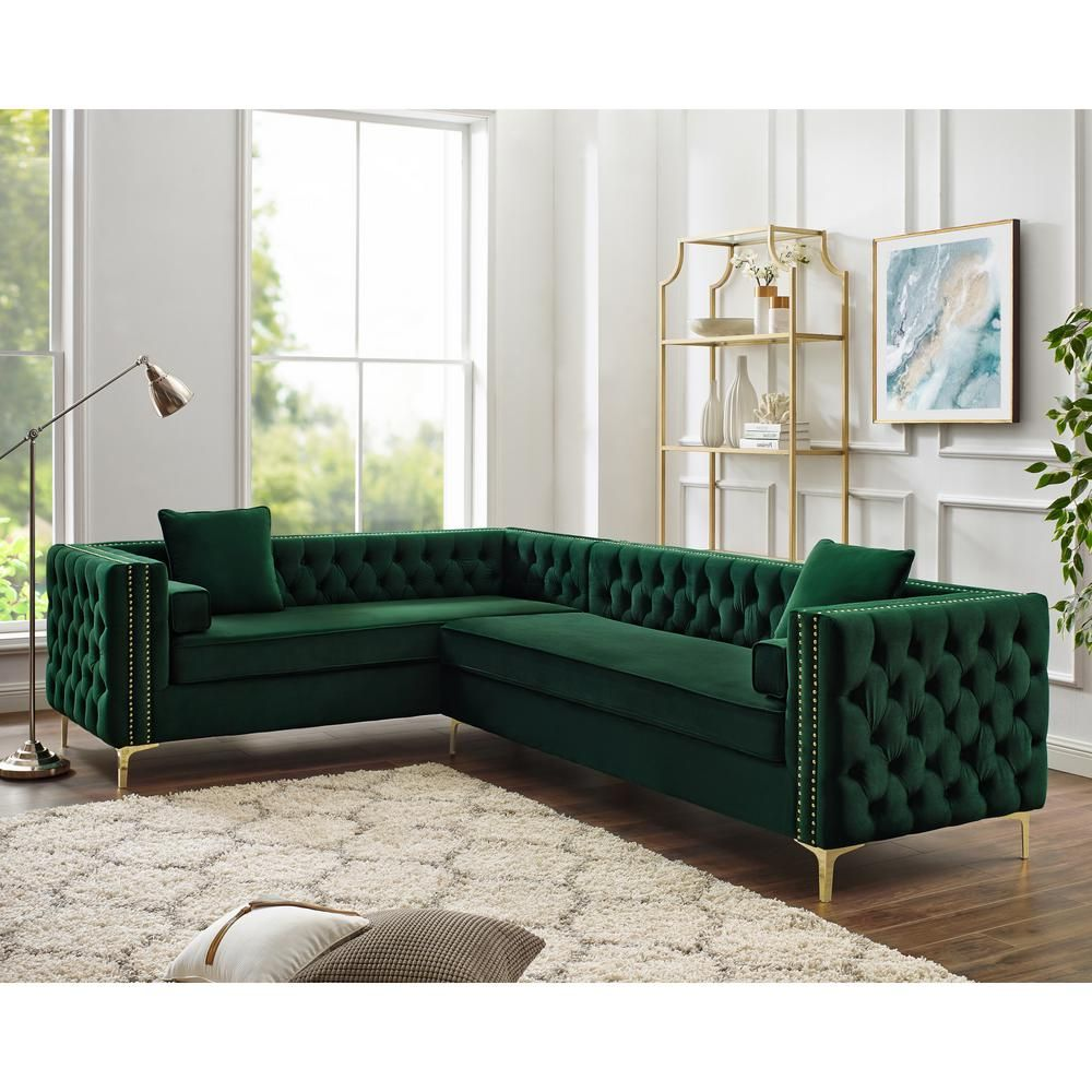 Inspired Home Olivia Hunter Green Silver Velvet 4 Seater L Shaped Left Facing Sectional Sofa With Nailheads Cl01 02hg1 Hd The Home Depot Corner Sectional Sofa Sectional Sofa Sofa Design