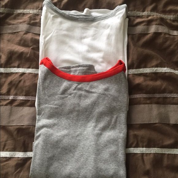 Gap shirt bundle Two Gap super soft boat neck 3/4 sleeve shirts, one is white with grey, other is grey with red. Worn only a few times, no sign of wear. Comes from a smoke free home  GAP Tops