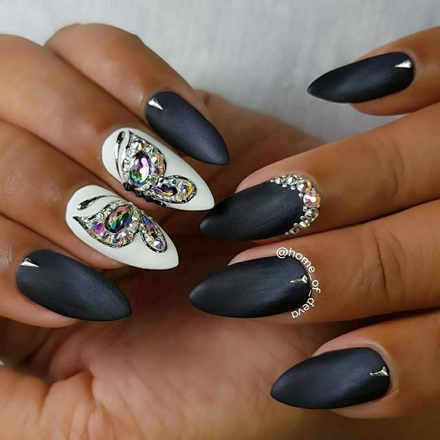 Butterfly Design With 3D Gel And Rhinestones Cats Eye Black Grey Polish Matte Or Shiny Beautiful Nails By Ugly Duckling Exclusive Ambass
