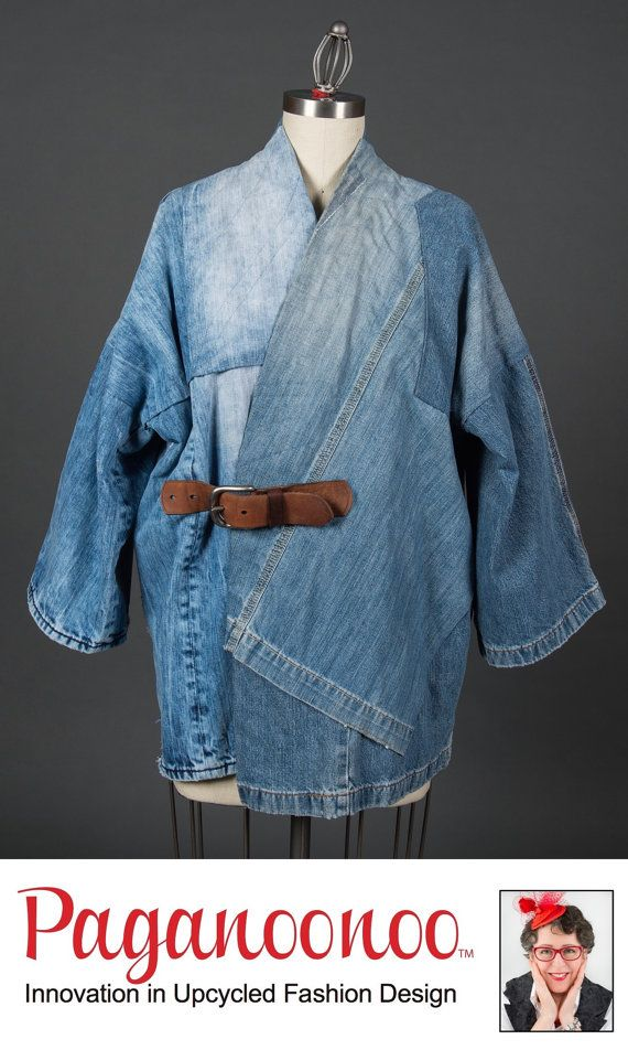 Upcycle Sewing instructions for unisex BORO Style Jean Jacket by Paganoonoo. Recycle denim jeans into timeless kimono shaped jean jacket. #jeanjacketoutfits