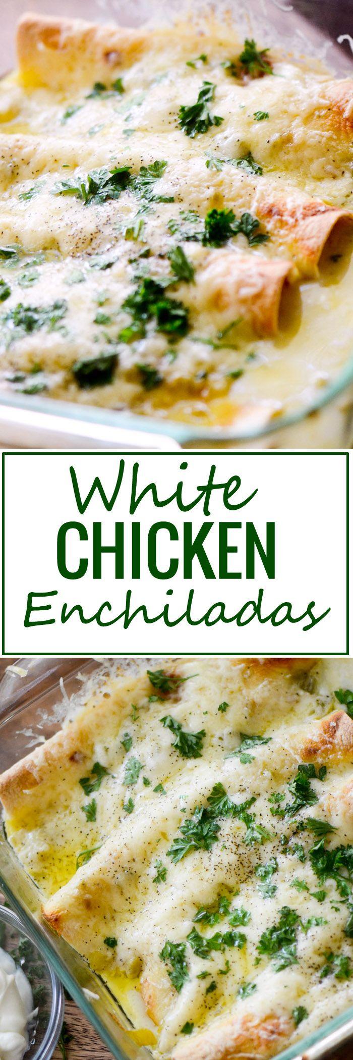 White Chicken Enchiladas - Recipe Diaries