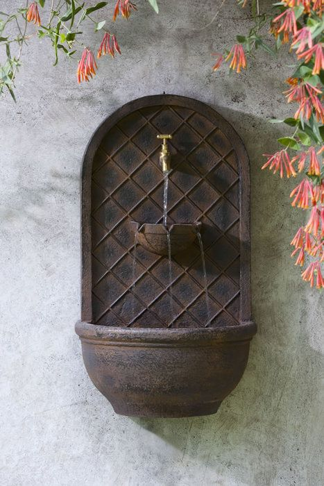 Hampshire Outdoor Garden Wall Water Fountain In Iron English Finish Color
