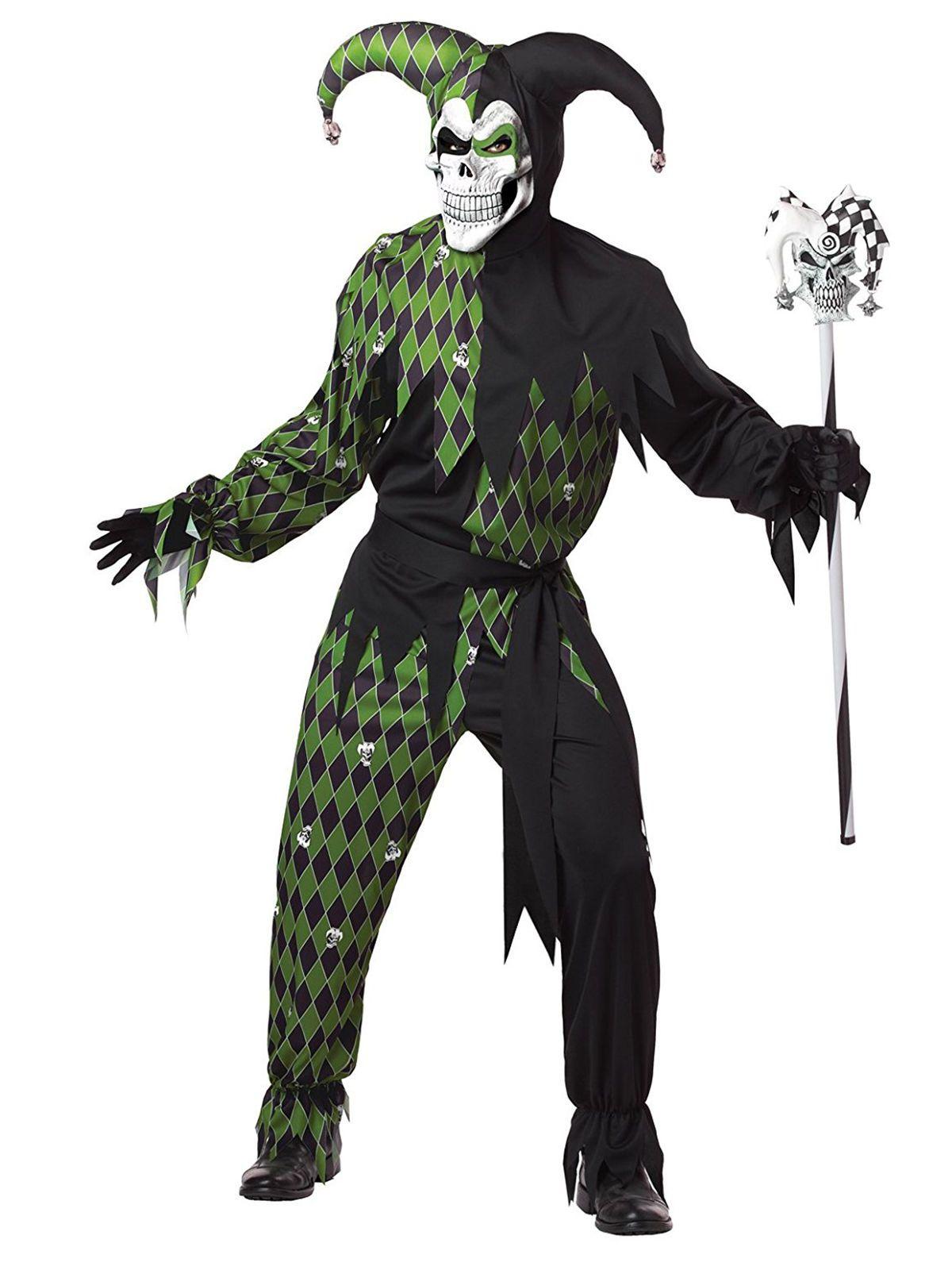 Disfraz de arlequín maléfico verde hombre Halloween